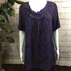🍓 SALE! 3/$15 Purple blue cowl neck XL swirl top